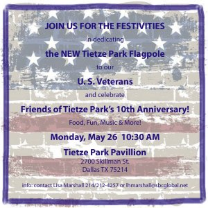 Tietze Park Flag Dedication Invitation, May 26, 2014